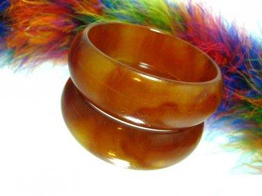 Chunky Bakelite Bangle Bracelet Brown Amber Tortoise Marble Thick Retro 1940s Vintage Jewelry
