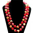 Raspberry Bead Necklace 2 Strand Vintage Hong Kong Cranberry Red Gold Flowers Retro Mod Jewelry