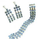 Blue Crystal Rhinestone Necklace Earrings Vintage Chandelier Screwback Facet Prom Evening Jewelry