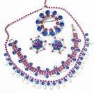 Vintage Rhinestone Necklace Earrings Bracelet Pin Weiss Full Parure Pink Blue Designer Jewelry