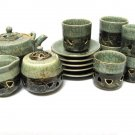 Somayaki Aohibi Saki Set Tea Cups Sugar Creamer Saucers Horse Japan 1960s Pottery