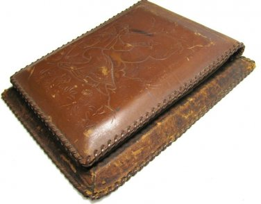 Vintage Peace Dove Leather Note Pad Holder Desk Office Accessory Hand Tooled Ethnic Man Bird Nature