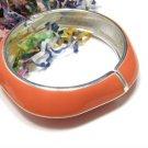 Orange Clamper Bracelet Vintage Cuff Bangle Mod Silver Geometrical Funky Jewelry Pumpkin Unique