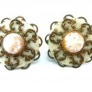 Copper Screw Back Earrings Vintage Renaissance Filigree Glitter Cabochon Retro Mod Fashion Jewelry