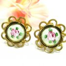 Vintage Cameo Earrings Gold Pink Rose Flower Glass Fluted Screw Back Victorian Gothic Retro Jewelry