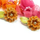 Pumpkin Orange Flower Earrings Vintage Enamel Gold Clip-On Funky Retro Mod Jewelry