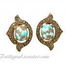 Sarah Coventry Earrings Turquoise Gold Marbled Cabs Victorian Dress Jewelry 1968 Remembrance Clip On