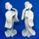 Vintage Geisha Figurines White Porcelain Japan Arnart Homco 1980s Asian Art Set Collectibles