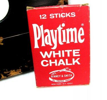 Binney Smith Playtime White Chalk 320 Red Retro Vintage Classroom Teacher Child Display Collectable