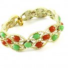 Colorful Vintage Bracelet Sarah Coventry Acapulco Carnelian Jade Gold Beads Retro Mod 60s Jewelry
