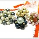 Vintage Beaded Earring Lot Japan Hong Kong Gray Pink Peach Pearl Blue Natural 4 Pair