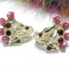 Raspberry Pearl Rhinestone Earrings Gold Star Chicago Vintage Jewelry Clip-on Retro Mod