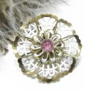 White Lattice Flower Brooch Coro Vintage 50s Pink Rhinestone Gold Pin Designer Fashion Jewelry