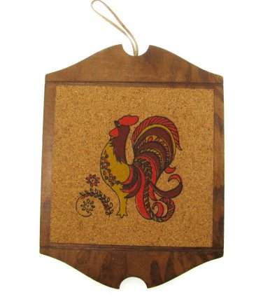 Rooster Wall Hanging Vintage Cork Wood Stenciled Country Retro Farm