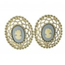 Cameo Lace Earrings 1960s Vintage Gold Blue Coventry Clip On Designer Renaissance Jewerly