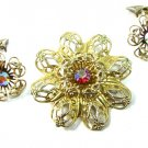 AB Rhinestone Vintage Brooch Earrings 50s Gold Tone Flower Lapel Hat Pin Clip Red Rose Cranberry
