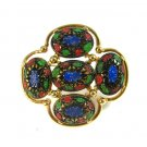 Vintage Mod Gold Tone Enamel Brooch Scarf Lapel Pin Red Blue Green Coventry Taj Mahal Eastern 1969