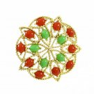 Acapulco Brooch Vintage Carnelian Jade Cabs Gold Star Large Red Green 60s Lapel Hat Pin