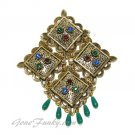 Coventry Antique Gold Brooch Rhinestone Jade Eastern Vintage Retro Jewelry Temple Lite 60s