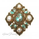 Antique Gold Brooch Pendant Coventry Turquoise Pearl Remembrance Vintage Pin Retro Jewelry
