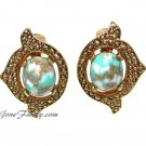 Turquoise Pearl Remembrance Clip Earrings Antique Gold Coventry Vintage Jewelry