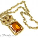 Large Amber Rhinestone Necklace Pendant Gold Chunky Jewelry Vtg Coventry Wild Honey 70 Jewelry
