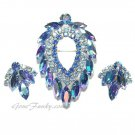 Blue Lagoon Rhinestone Brooch Earrings Juliana DeLizza Elster Coventry 60s Jewelry Prom Formal