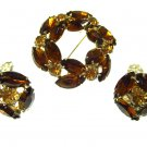 Weiss Brown Rhinestone Brooch Earrings Amber Root Beer Wreath Pin Clip On Marquise