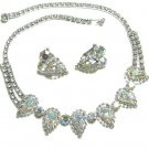Weiss AB Rhinestone Necklace Earrings Large Runway Prom Evening Designer Vintage Jewelry