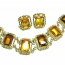 Amber Honey Rhinestone Bracelet Earrings Gold Rope 70s Coventry Large Chunky Jewelry Set