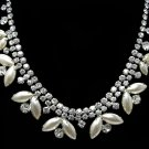 Weiss Rhinestone Pearl Necklace Large Choker 1950s Vintage Flower Double Strand Silver