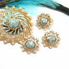 Aqua Turquoise Confetti Brooch Earrings Ring Vintage Starburst 70s Pearl Gold Coventry Azure Skies