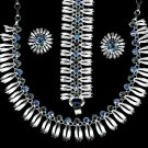 Lisner Rhinestone Necklace Earrings Bracelet AB Blue Silver Retro Mod Fashion Designer Parure