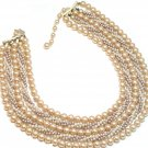 Vintage Faux Pearl Necklace Bib Cleopatra Multi Strand Rope Antique Gold Japan Fashion Jewelry