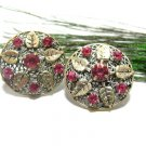 Vintage Rhinestone Earrings Rose Pink Czech Art Nouveau Antique Gold Flower Leaf Screw Back