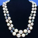 Lisner Pearl AB Rhinestone Necklace Vintage Double Strand 18 Inch Choker Prom Bridal Jewelry