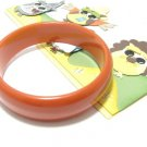 Pumpkin Orange Chunky Bakelite Bangle Bracelet Retro Vintage Fashion Jewelry Thick 3 Inch