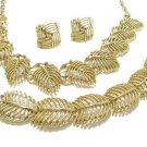 Lisner Retro Mod Jewelry Set Gold Leaf Palm Necklace Earrings Bracelet Parure Designer Vintage