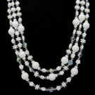 Lisner Milk Glass Bead Necklace Three Strand Crystal AB Choker Flower Bumpy 17 Inch