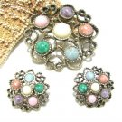 Antique Gold Brooch Pin Earrings Colorful Pastel Pink Purple Green Heart Coventry 70s