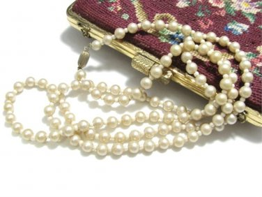 Flapper Faux Pearl Necklace Vintage Glass Beads 35.5 Inch Warm Golden Long Strand