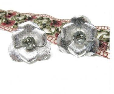 Sarah Coventry 1950s Silver Rhodium Flower Earrings Black Diamond Rhinestone Clip On Vintage Jewelry