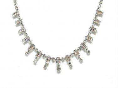 "Kramer Diamond Look Rhinestone 60s Necklace Case Emerald Cut Choker Elegant Prom Formal Bridal 15"""