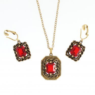 Vintage Jewelry Set Red Rhinestone Antique Gold Necklace Earrings Coventry Majorca