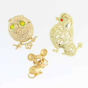 Vintage Gold Brooch Set Mouse Owl Poodle Dog Rhinestone Lapel Pin Scarf Hat