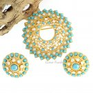 Aquarius Brooch Pin Earrings Coventry Turquoise Rhinestone Gold 60s Retro Mod Jewelry Set