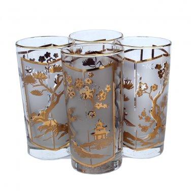 Hollywood Regency Tea Cocktail Glasses Pagoda Asian Lotus Tree Gold Leaf 10 Oz Tall Boy Barware