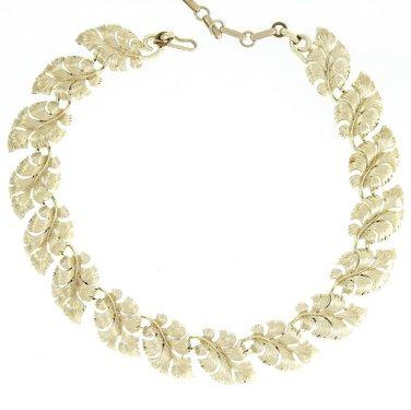 Lisner Gold Curled Leaf Necklace Retro Mod Textured Choker Designer Fashion Jewelry