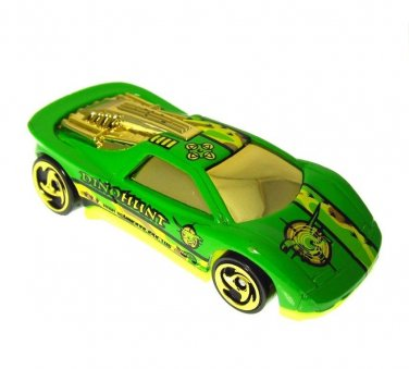 Dino Hunt Hot Wheels Bonus Round Race Car 1990 Lime Green Gold Collectible