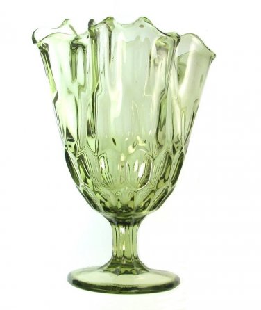 Fenton Colonial Green Handkerchief Vase Fluted Thumbprint Large 8 Inch 60s 80s